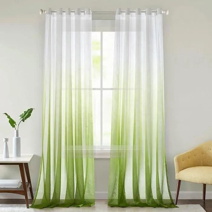 jupitte 1pcs rideau voilage blanc vert degrade de