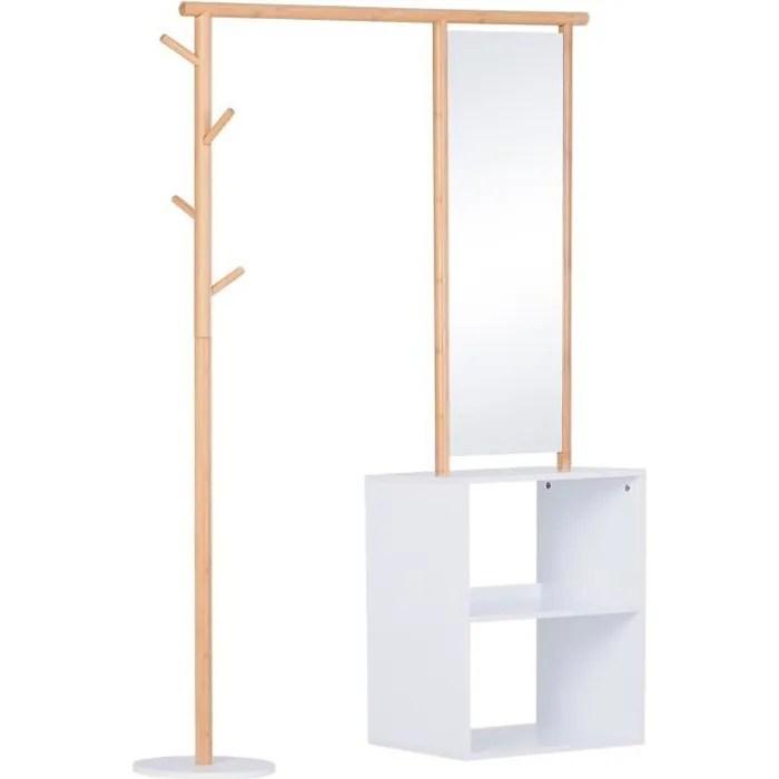 porte manteaux meuble d entree vestiaire penderie avec miroir 4 pateres 2 niches dim 100l x 34l x 164h cm mdf blanc bois massif