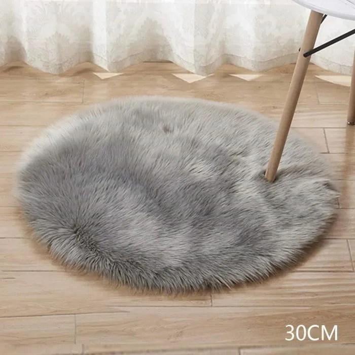 tapis rond en fausse laine artificielle doux et moelleux pour salon chambre d enfant decoration gris 40cm
