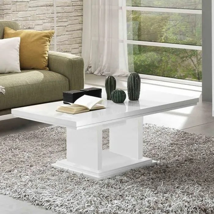 table basse rectangulaire laque blanc potiri b