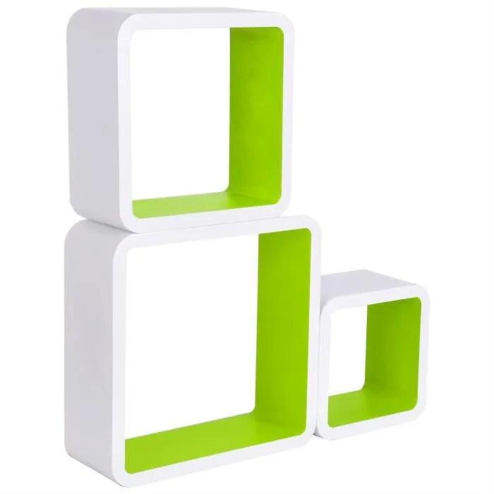 woltu etagere murale en mdf pour salon bibliotheaue etagere pour rangement de cd dvd livres etagere carre blanc vert