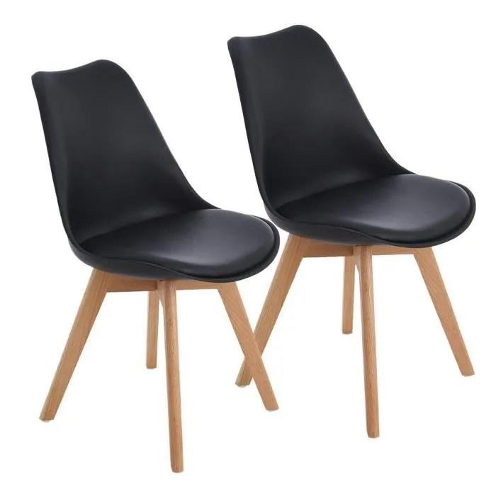 hj lot de 2 chaises design contemporain nordique scandinave avec pieds en bois de chene massif noires