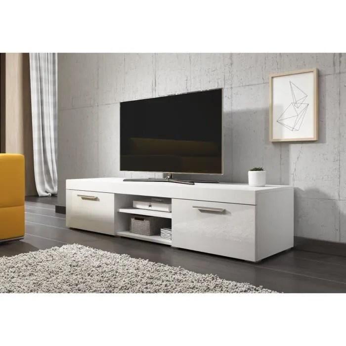 paris meuble tv contemporain decor blanc 140 cm