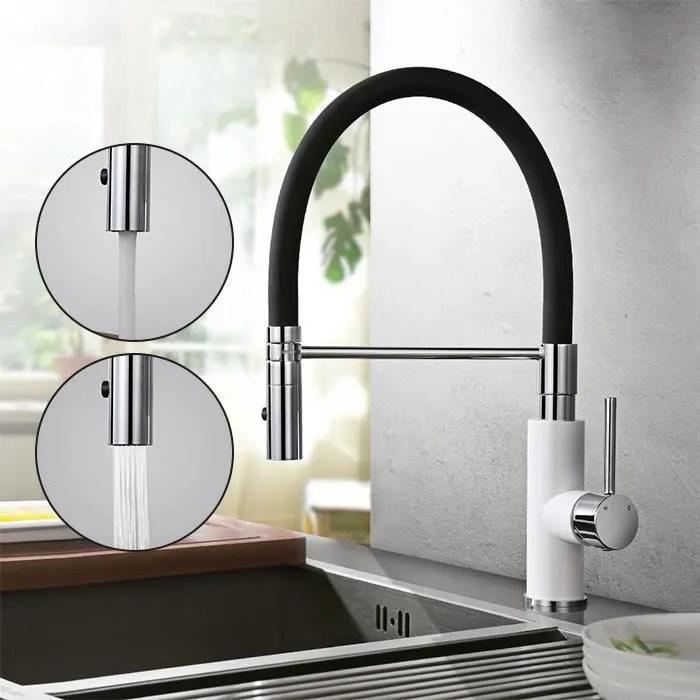 homelody robinet de cuisine mitigeur d evier a debit variable mitigeur cuisine 360º avec tuyau souple en silicone noir