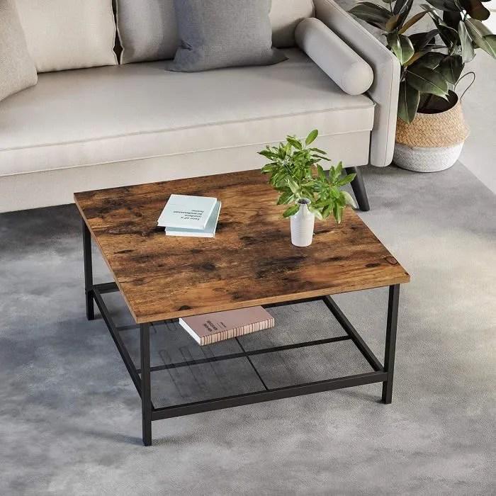 vasagle table basse carre 80 x 80 x 45 cm l x l x h cadre en acier robuste grand dessus style industriel noir lct065b01