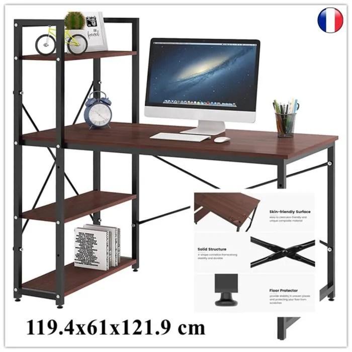dripex table de bureau en bois et acier a 4 nive