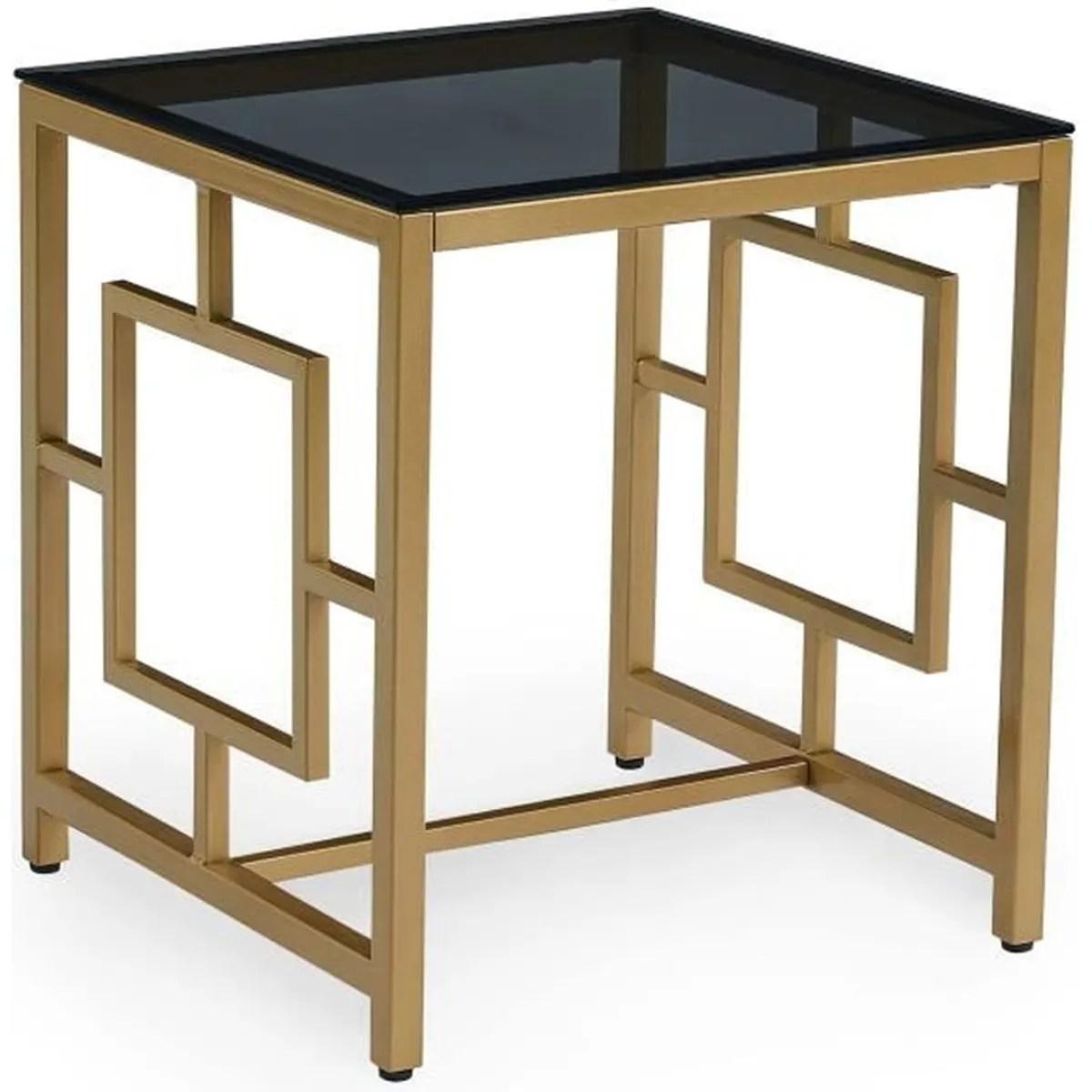 table basse design en verre noir et metal dore carree pablo