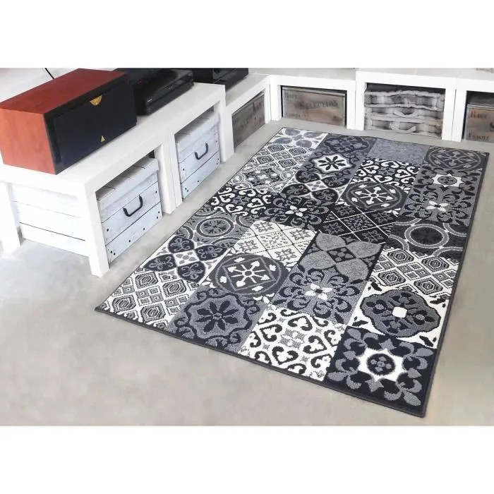 tapis salon patchwork carreaux ciment gris debonsol 80x150cm