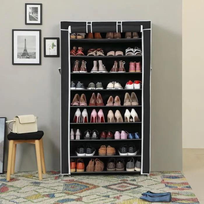 songmics etagere a chaussures 40 paires de chaussures 10 niveaux housse anti poussiere porte chaussures 88x28x160cm noir rxj36h