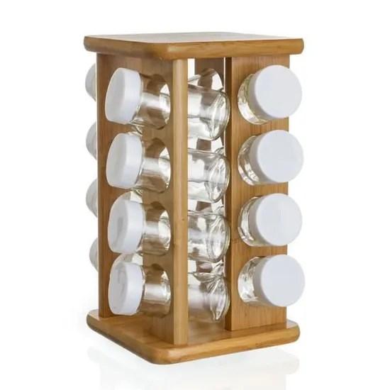 support a epices presentoir tourniquet en bambou et ses 16 pots a epices