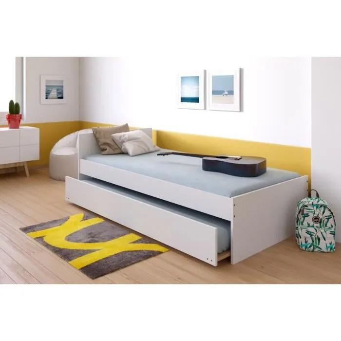 podium lit gigogne enfant avec sommiers contemporain melamine blanc l 90 x l 190 cm