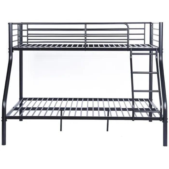 lit superpose adulte urbain en metal noir epoxy sommiers inclus l 140 x l 190 cm et l 90 x l 190 cm