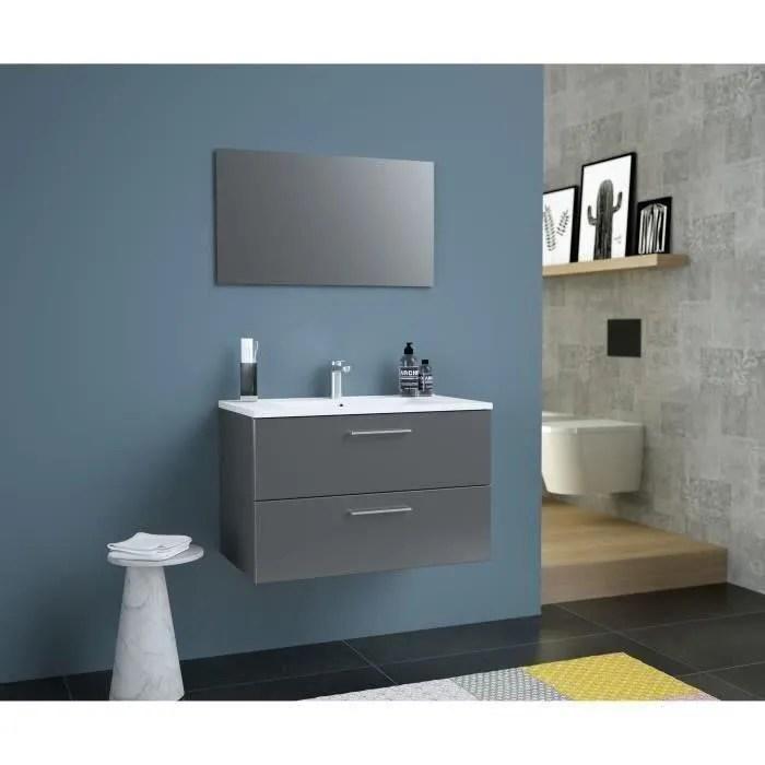 glossy meuble de salle de bain simple vasque l 80cm gris fonce laque brillant