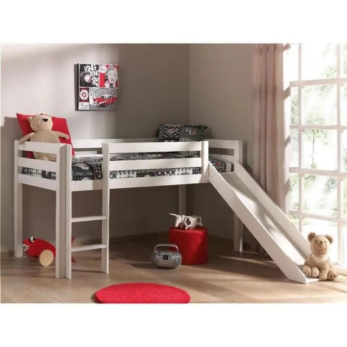 pino lit mezzanine enfant avec sommier toboggan style contemporain en pin massif blanc l 209 x l 217 cm