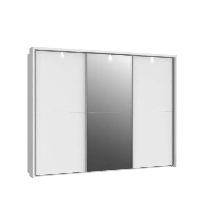 armoire 3 portes coulissantes miroir et led blanc brillant l 280 5 x p 64 x h 215 9 cm lona