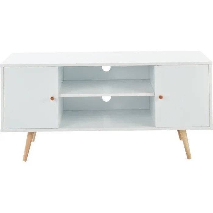 meuble tv scandinave decor blanc pieds en bois eucalyptus l 116 cm babette