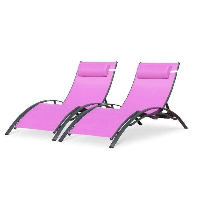 dcb garden lot de 2 chaises longues de