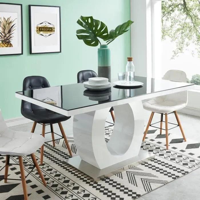 ring table a manger de 6 a 8 personnes style contemporain laquee blanc brillant et noir l 160 x l 90 cm