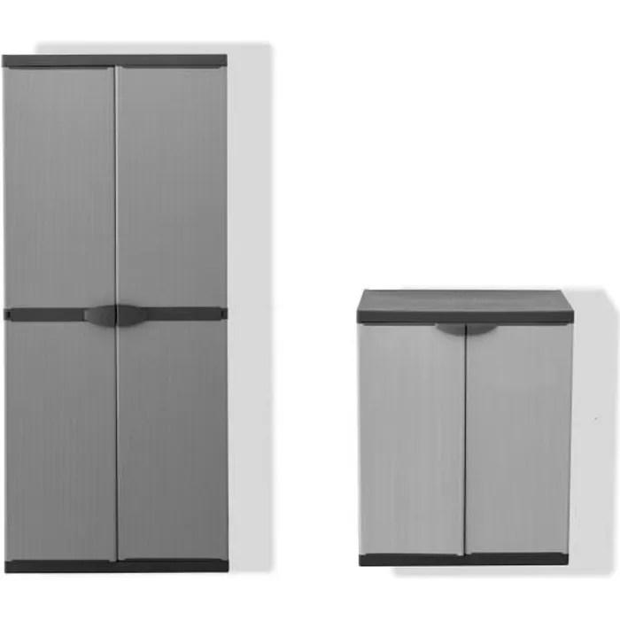 tood lot de 2 armoires haute et basse de rangement en resine