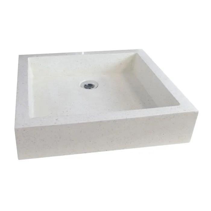 vasque en terrazzo timbre 60x40cm ton pierre