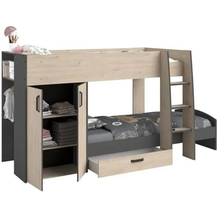 lits superposes enfant avec rangements decor chene jackson et gris ombre sommiers inclus 2 x 90 x 200 cm mist