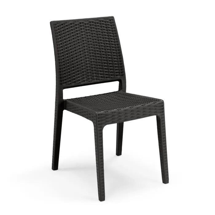 lot de 4 chaises de jardin clio imitation resine tressee 55 x 46 x 85 cm gris anthracite
