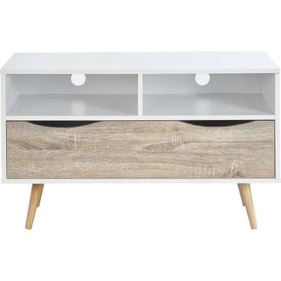 bela meuble tv scandinave blanc et decor chene mat pieds en bois massif l 90 cm