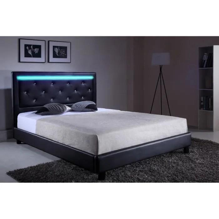 filip lit adulte contemporain simili noir sommier et tete de lit avec led inclus l 160 x l 200 cm