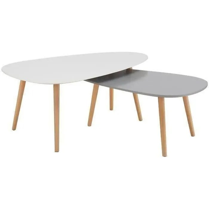 kivi lot de 2 tables basses gigognes scandinave blanc laque et gris mat l 98 x l 61 et l 88 x l 48 cm