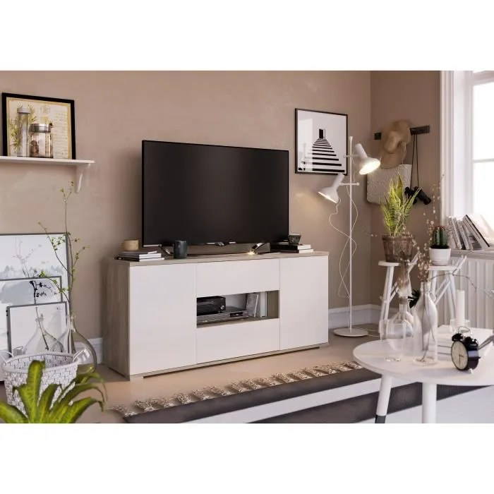 star meuble tv 2 portes 2 tiroirs decor chene et