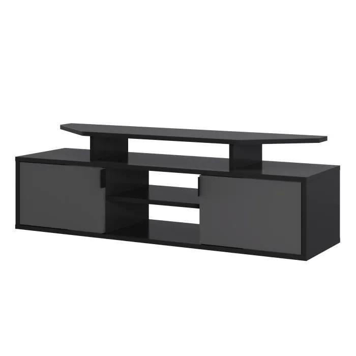 meuble tv gaming 2 portes gris fonce et clair