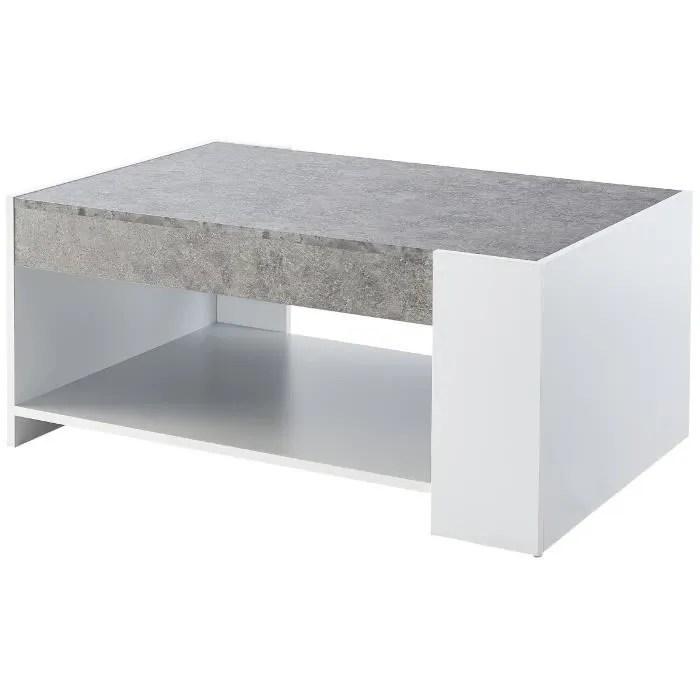 table basse style contemporain blanc et