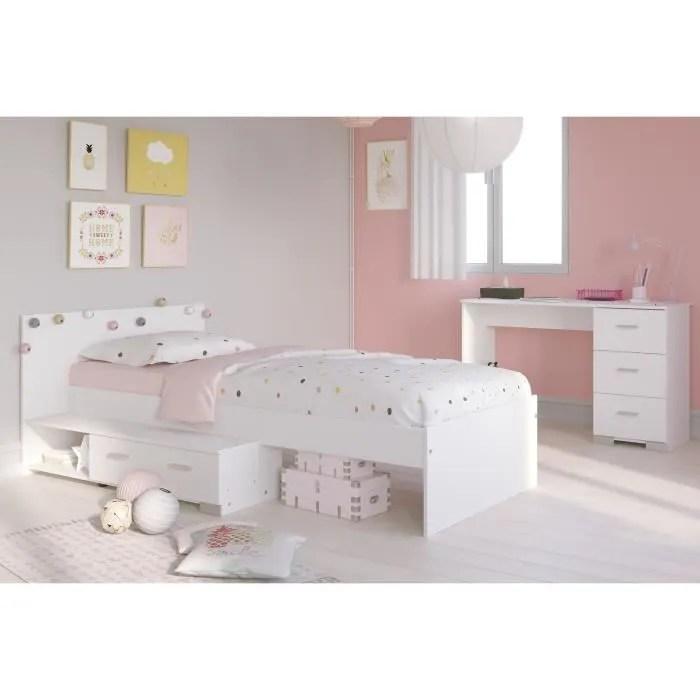 cosmos chambre enfant complete 2 pieces lit bureau style essentiel decor blanc