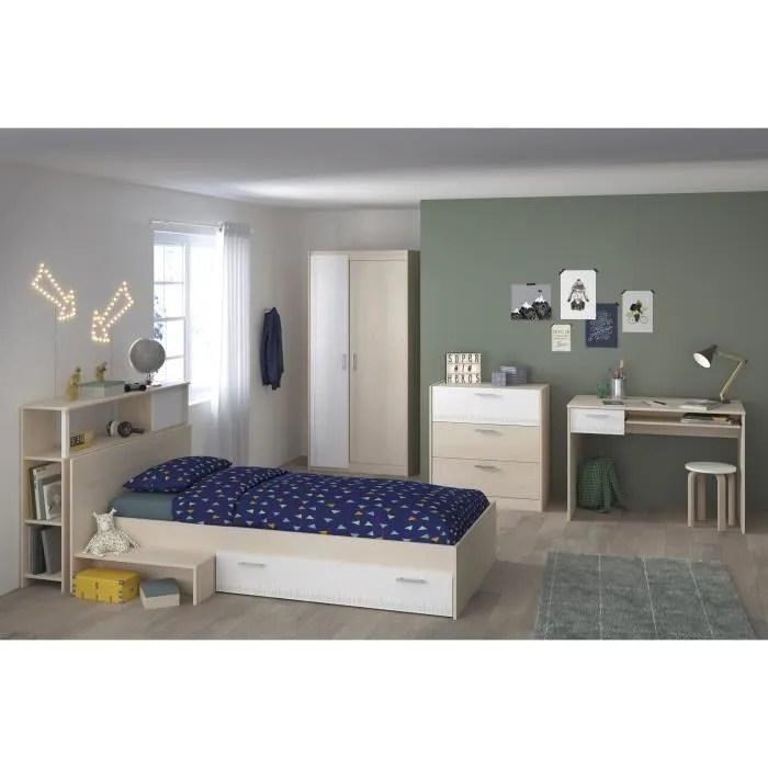 charlemagne chambre enfant complete tete de lit lit commode armoire bureau contemporain decor acacia clair et blanc