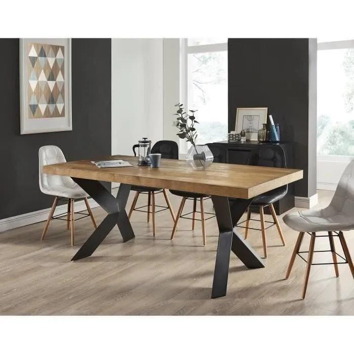 platon table a manger de 6 a 8 personnes style industriel placage bois chene pieds metal laque noir l 180 x l 90 cm