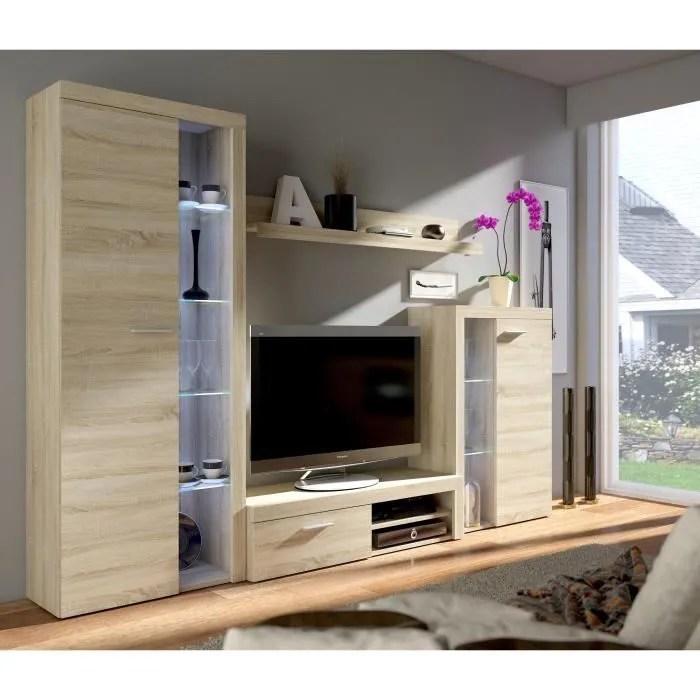 rumba meuble tv contemporain decor chene sonoma l 120 cm