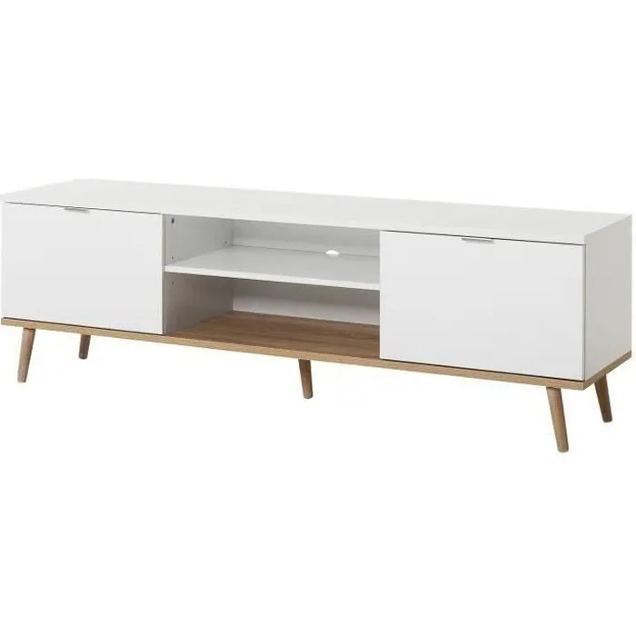 goteborg meuble tv scandinave blanc l 160 cm