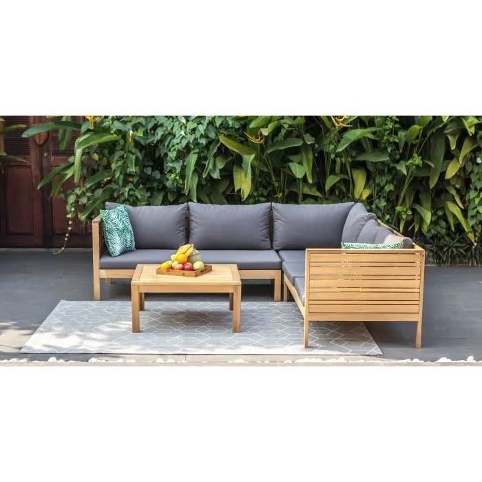 salon de jardin 5 places en bois d eucalyptus fsc hao