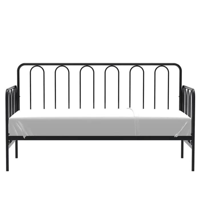 lit banquette metal 90 x 190 cm sommier inclus noir archi