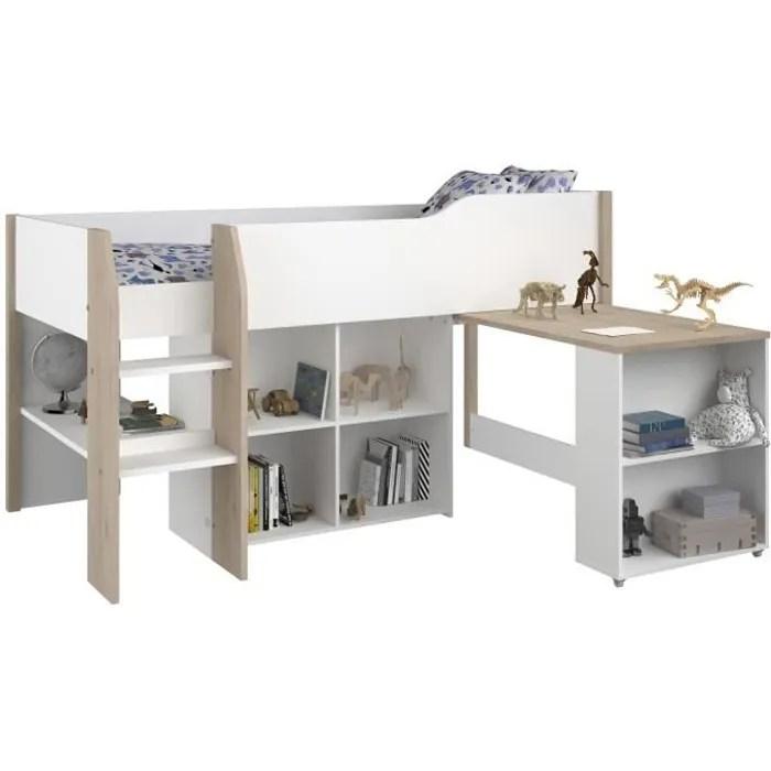 lit combine enfant decor blanc et chene jackson sommier inclus 90x200 cm liam