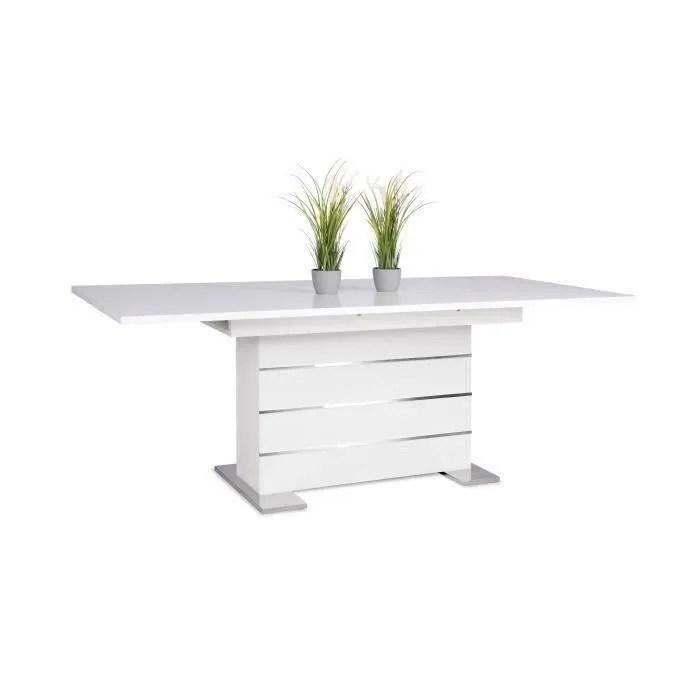 mantova table extensible 6 a 8 personnes style contemporain blanc et alu l 160 a 200 cm