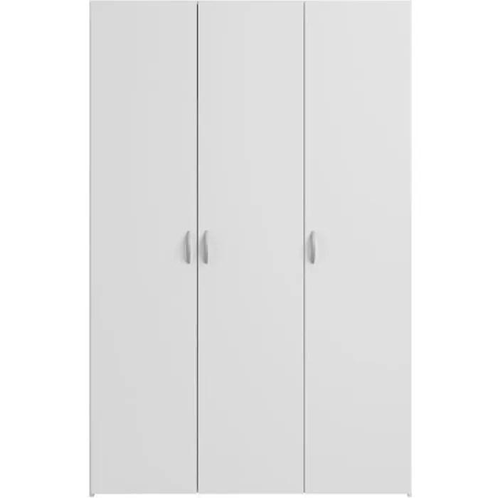 varia armoire 3 portes decor blanc l120 cm
