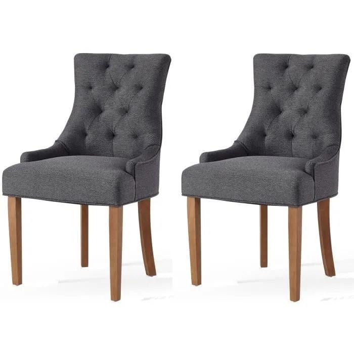 leonie lot de 2 chaises de salon pieds en bois hevea massif revetement tissu gris chine classique l 55 x p 60 cm