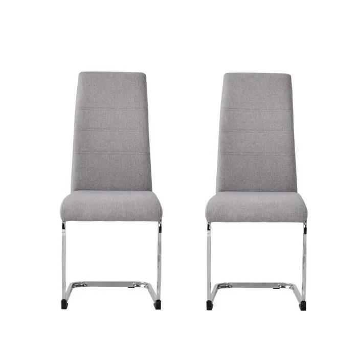 jane lot de 2 chaises pied chrome tissu gris l 42 x p 56 x h 99 cm