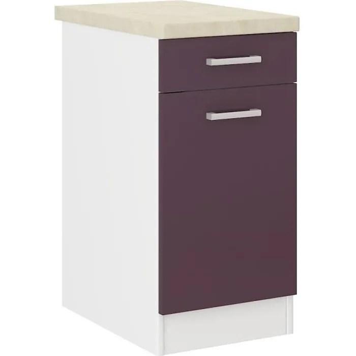 ultra meuble bas de cuisine l 40 cm avec plan de travail inclus aubergine mat