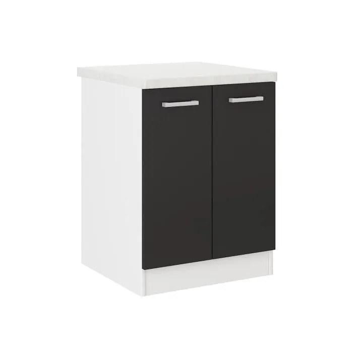 meuble bas cuisine avec plan de travail noir