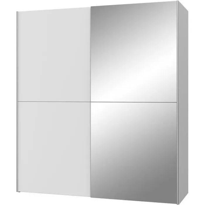 ulos armoire 2 portes coulissantes miroir blanc mat l 170 3 x p 61 2 x h 190 5 cm
