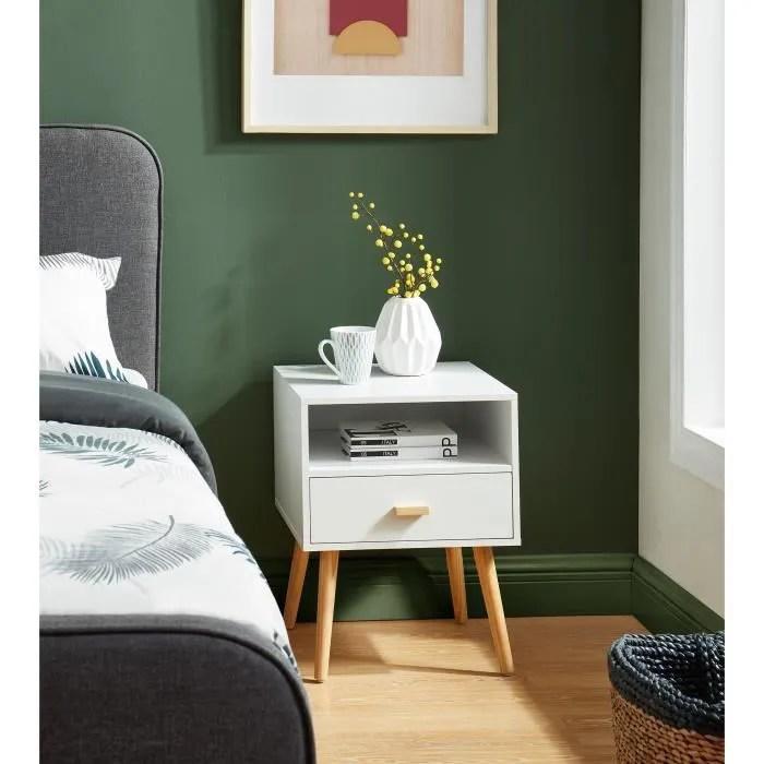 ulys table de chevet 1 tiroir et niche de rangement decor blanc l 40 x p 39 5 x h 50 cm