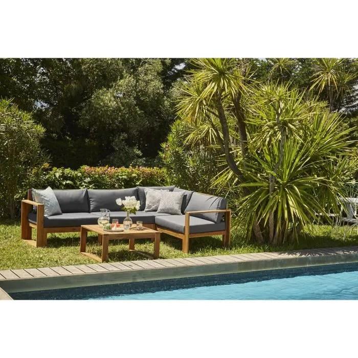salon de jardin en bois d acacia fsc 5 personnes avec coussins gris anthracite levata