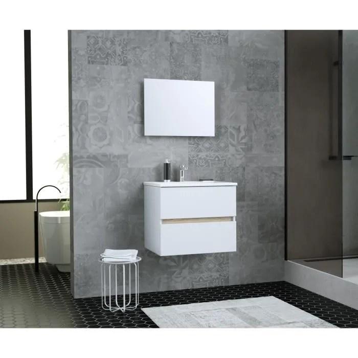 Meuble Salle De Bain Avec Vasque Et Miroir 60cm Achat Vente Pas Cher